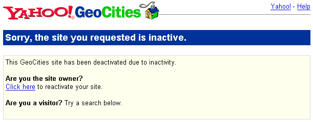Geocities Inactive warning