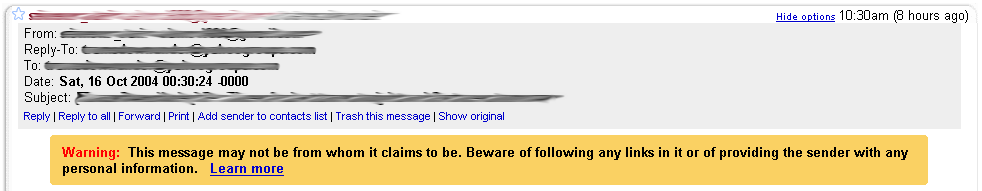 GMail warning