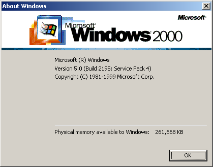 Win2K winver screen