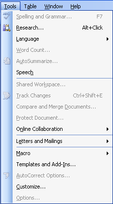 Word 2003: Tools menu