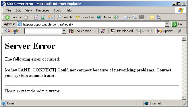 Apple support web site error