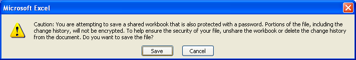 Excel warning