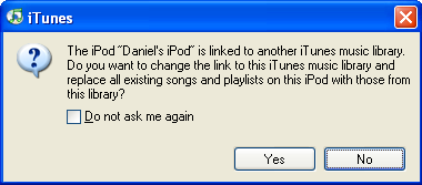 Dialog inviting me to wipe the iPod clean, since I'm plugging it into a new computer