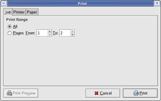 Gnome PDF viewer print dialog