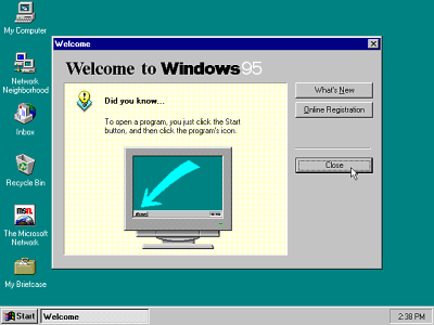 Windows 95 welcome - from www.guidebookgallery.org