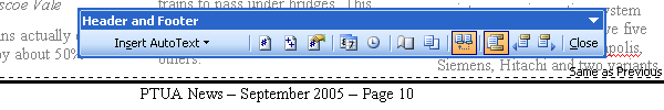 Editing the page footer in Word