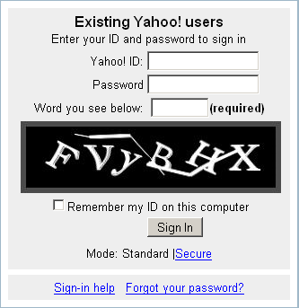 New-style Yahoo sign-in