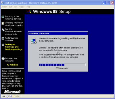 Windows 98 under Virtual PC
