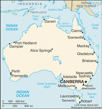 Map of Australia showing various towns.