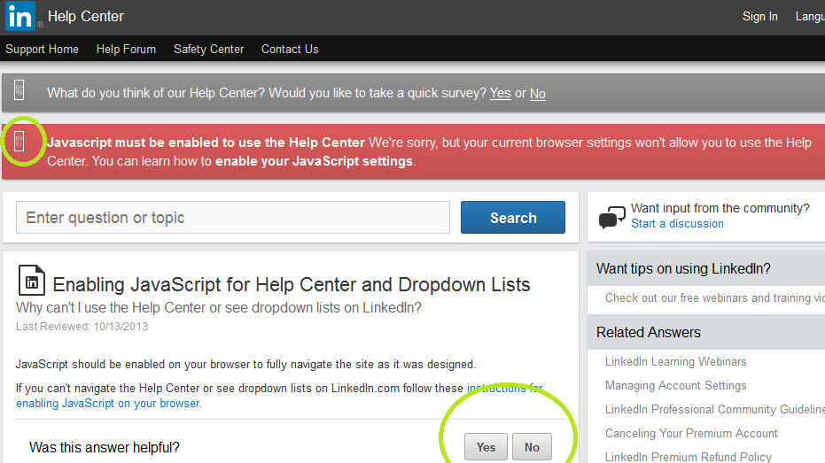 Linkedin needs JavaScript to enable JavaScript