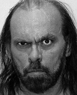 Mug shot of mean-looking man