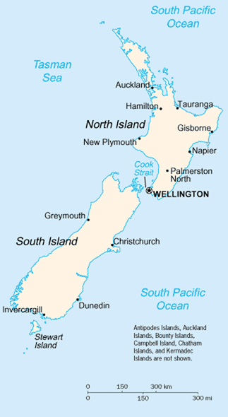 Map of New Zealand showing various towns
