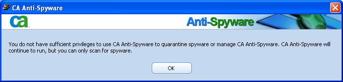 CA Antispyware error