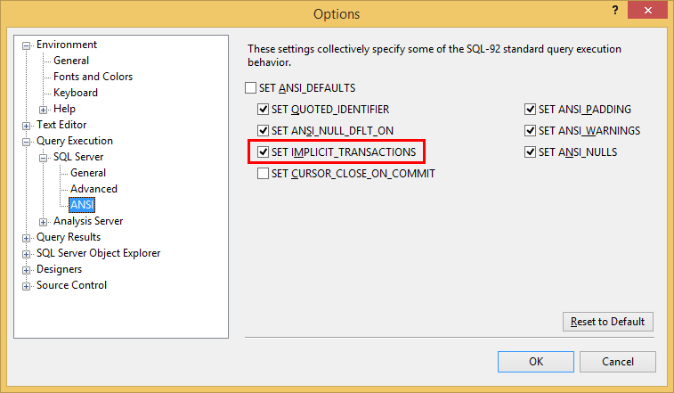 SQL Server implicit transactions option